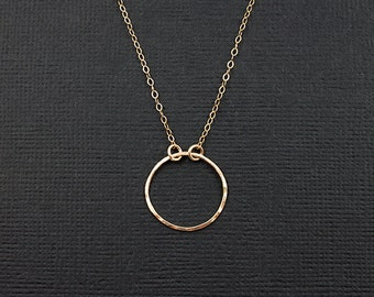 Eternal Promise Ring Necklace - Promise Collection - Circle Necklace - Gold or Sterling Silver Ring Necklace - Simple Jewelry