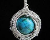 Sterling Silver Wire Wrapped Chrysocolla and Malachite Pendant