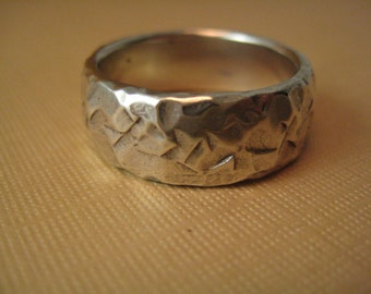 Chiseled stone texture  Wedding band   Solid sterling silver  hammered pattern ring