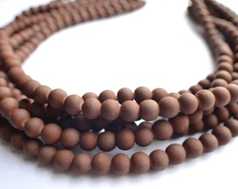 The Michelle- Brown Matte Bead Statement Necklace
