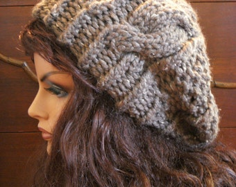 Brown Tweed Cable Hat, Beret, Light Slouch Tam Beanie