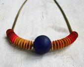 Inti Necklace / African Vinyl Beads / Snake Chain / Gift