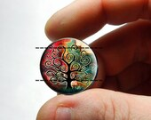 25mm 20mm 16mm 12mm or 10mm Glass Cabochon - Tree of Life - for Jewelry and Pendant Making