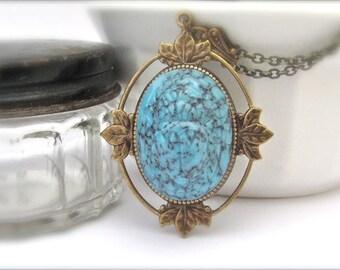 Art Deco Necklace, Blue Scarab Necklace, Vintage Turquoise Glass Pendant, Long Chain Pendant Necklace, Turquoise Necklace