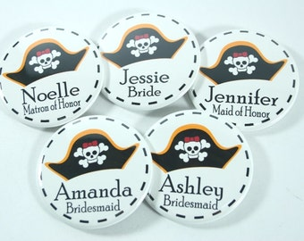 5 Pirate Party Birthday Party Favors, Bachelorette Party Buttons, Birthday Party Buttons