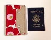 Ready to Ship Passport Cover Case, Family Size- Mini In Touch Clutch for Moleskine Journals and Passports- Marimekko Red Poppies