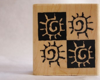 sunblock beach surf pattern collage rubber stamp