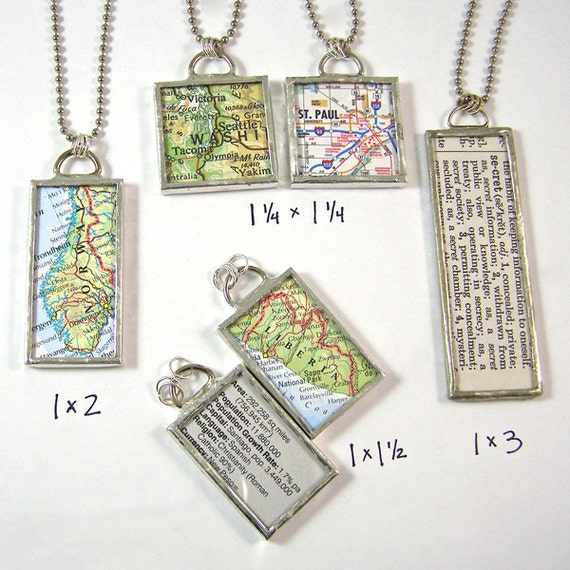 Custom Map Reversible Pendant Necklace - Choose a map and size