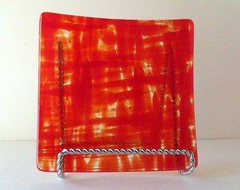 Small Fused Glass Dish, Red Pattern Glass Serving Plate, Home Decor, Smokeylady54