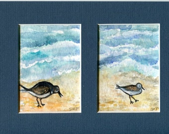 Set of 2 ACEO Original Beach watercolor paintings 5 x 7 mat with 2 openings, beach, shore birds painting, miniature, art cards, ocean art