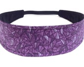 Headband Reversible Fabric  -  Purple, Grey & Black Geometric Mod   -  Headbands for Women -  ELIZABETH