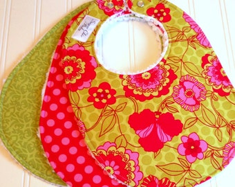 Baby Bibs for Baby Girl  - Set of 3 Chenille Bibs  -  Fuchsia Pink, Lime Green, Floral, Dots & Damask