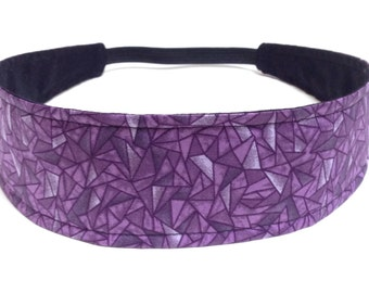 Headband Reversible Fabric  -  Purple, Grey & Black Geometric Mod   -  Headbands for Women -  ELIZABETH