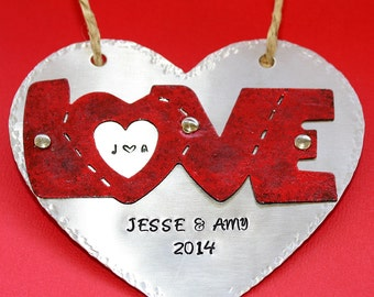 Personalized Love Ornament - Hand Stamped Anniversary Gift - Christmas Decoration - Wedding Heart