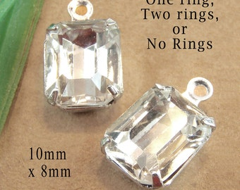 Crystal Octagon Glass Beads, Silver Plated Brass Settings, 10mm x 8mm, Rhinestone Jewels, Glass Gems, One or Two Rings, One Pair