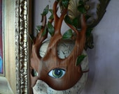Spring Dryad, Hama Driad, tree mask,mother nature mask, leather mask by Faerywhere