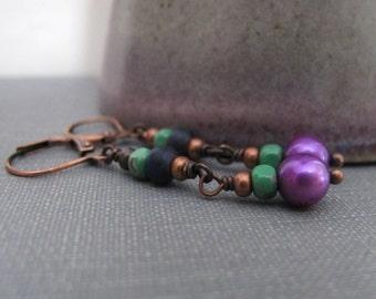 Pearl Earrings, Purple Pearls, Copper Earrings, Glass Earrings, Dangle Earrings, Wire Work, Pearl Jewelry, Copper Jewelry