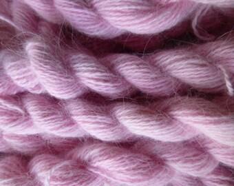 FOUR skeins pink 100% pure angora bunny rabbit fur yarn DK weight