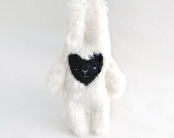 Sad Bunny - small plush friend doll -super fuzzy off white
