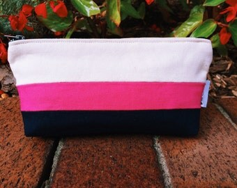 Striped Canvas Fuchsia and Navy Blue Cosmetic Bag, Navy Cosmetic Pouch, Canvas Pouch, Navy Makeup Bag, Striped Pouch, Toiletry Bag, Zipper