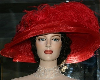 Edwardian Hat Ascot Hat Kentucky Derby Hat Wide Brim Tea Hat Titanic Hat Somewhere in Time Hat Downton Abbey Hat Red Hat - Lady Ophelia
