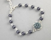 Navy Blue Pearl Flower Silver Filigree Bridesmaids Bracelet
