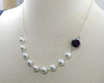 Black White and Silver Flower Bridesmaids Wedding Necklace