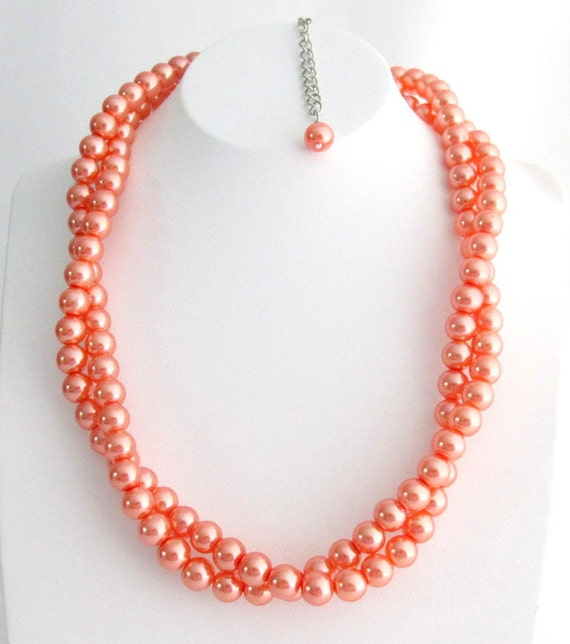 Orange Pearl Necklace Chunky Necklace Twisted Necklace Orange Pearl Twisted Jewelry Bridesmaid Bridal Necklace Free Shipping In USA