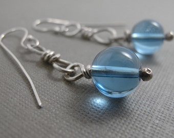London Blue Topaz Drops - Sterling Silver and London Blue Topaz Long Earrings with a twist!