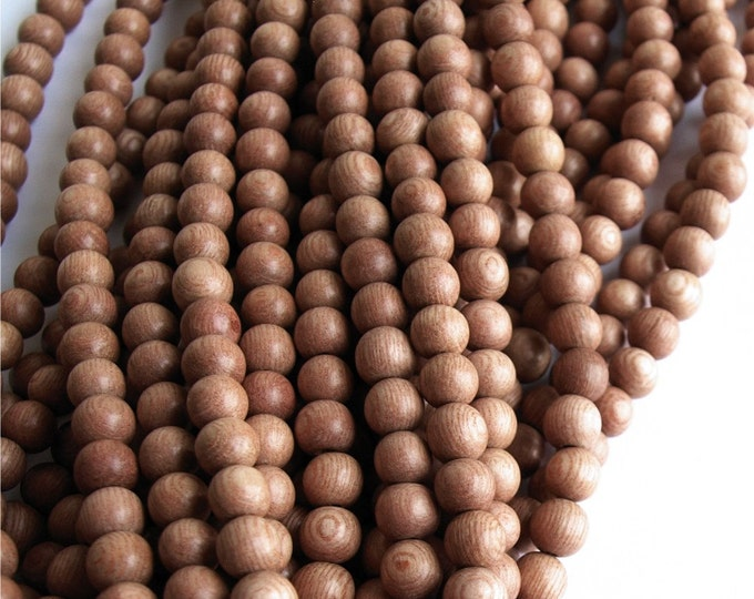 Wood Bead, Round 5mm, Rosewood - 16 Inch Strand (WDRD-05RS)