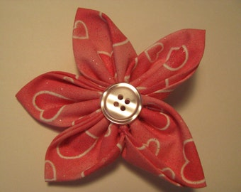 Valentine's Day Pink Hearts  Print Fabric Flower Brooch