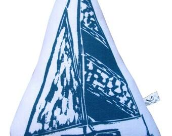 block print sailboat stuffie
