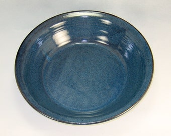 Blue Deep Dish Pie Pan Handthrown Stoneware Pottery 1