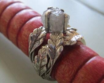 Rough diamond branch leaf ring set - Nature