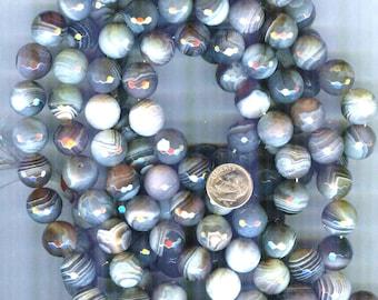DESTASH 12mm Botswana Agate Faceted Round Beads 6pcs