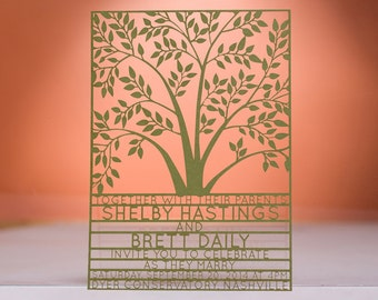 Tree Wedding Invitaton, Laser Cut