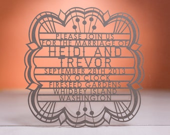 Bohemian Wedding Invitation, Laser Cut