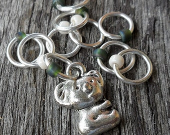 Small Snag Free Knitting Stitch Markers Koala In A Flowering Gum Tree Olive Cream Luster Seed Beads Fits Needles Up To 4.5mm