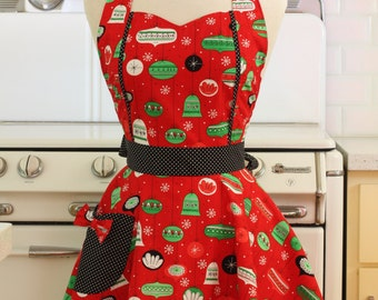Apron Christmas Ornaments on Red MAGGIE Retro Full Apron