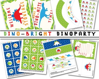 40% off Dinosaur Birthday Party Kit printable cupcake toppers, wrappers, invite, banner INSTANT DOWNLOAD DIY