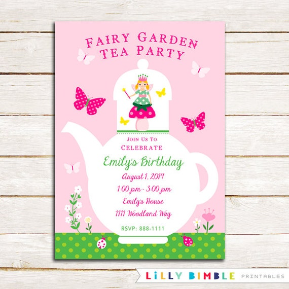 Fairy Garden Tea Party birthday invitation pink and green invite – Fairy Tea Party Invitations