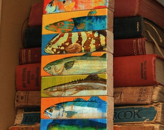Husband Gifts for Him- Fishing Gifts for- Mens Gift- Fish Sticks- Saltwater Fish Art Block Set of 7- Coastal Beach Decor- Dad Gifts- for Dad