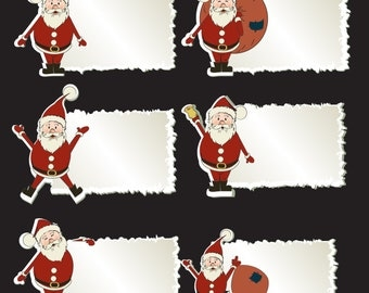 "6 Santa Gift Tag Decals 4.7"" Tall Each"