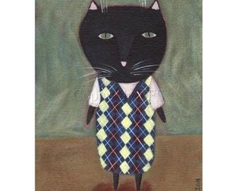 Whimsical Cat Art, Black Cat Print, Cat Folk Art, Funny Cat Print, Cat and Sweater, Humorous Picture, Naive Illustration, Artwork for Kids