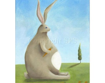 Rabbit Print, Whimsical Art, Rabbit Illustration, Cute Bunny, Children's Room, Nursery Decor, Rabbit Folk Art, Artwork for Kids, Happy Art