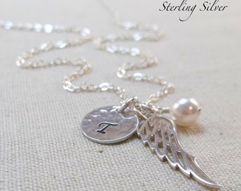 Personalized Angel Wing Charm Necklace, Sterling Silver Initial And Birthstone Jewelry, Memorial Necklace, Silver Wing Necklace, Angel Wing