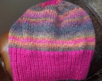 Hand knit knitted wool acrylic watch cap hat beanie pink brown orange bronze skullcap chapeaux women medium large