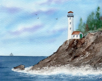 SFA watercolor original LIGHTHOUSE  ocean shore pacific nw