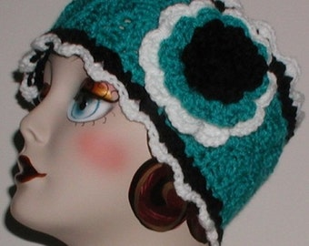 Turquoise Black White Ear Warmer Extra Wide Headband With Multi Colored Large Flower Head Band