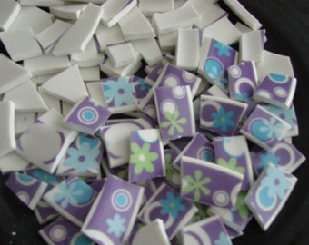 Mosaic Tiles Broken Plate Hand Cut Art Supply China Pieces Tesserae Retro 100 Purple Blue Flowers Mix